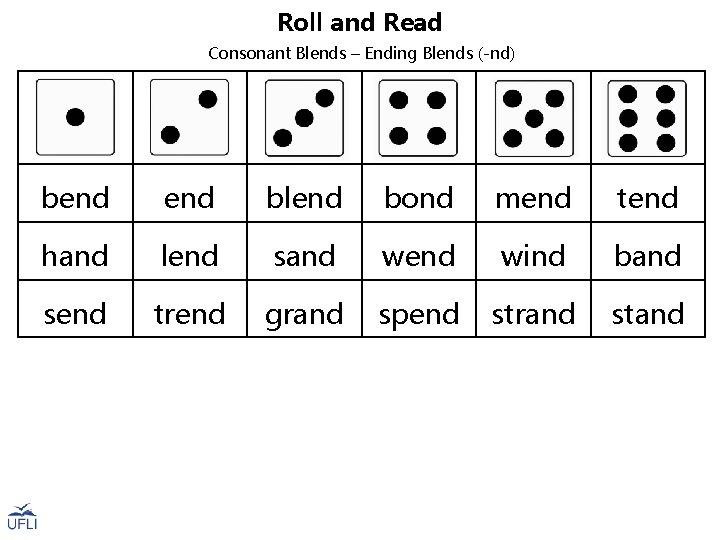Roll and Read Consonant Blends – Ending Blends (-nd) bend blend bond mend tend