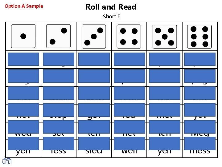Roll and Read Option A Sample Short E bed beg den bet jet pet