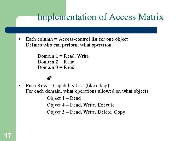 Implementation of Access Matrix • Each column = Access-control list for one object Defines