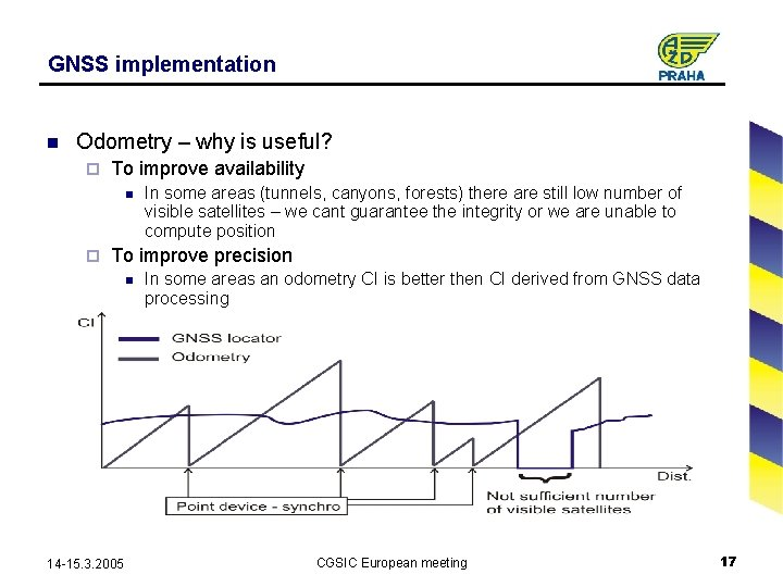 GNSS implementation n Odometry – why is useful? ¨ To improve availability n ¨