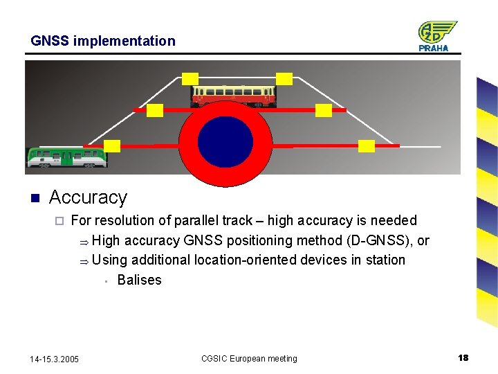 GNSS implementation n Accuracy ¨ For resolution of parallel track – high accuracy is