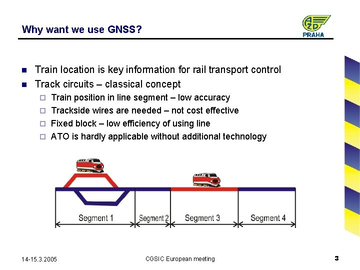 Why want we use GNSS? n n Train location is key information for rail