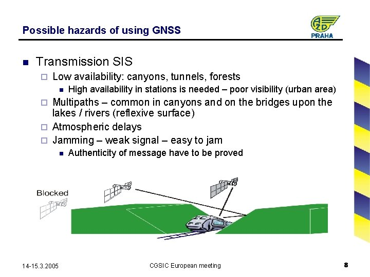 Possible hazards of using GNSS n Transmission SIS ¨ Low availability: canyons, tunnels, forests