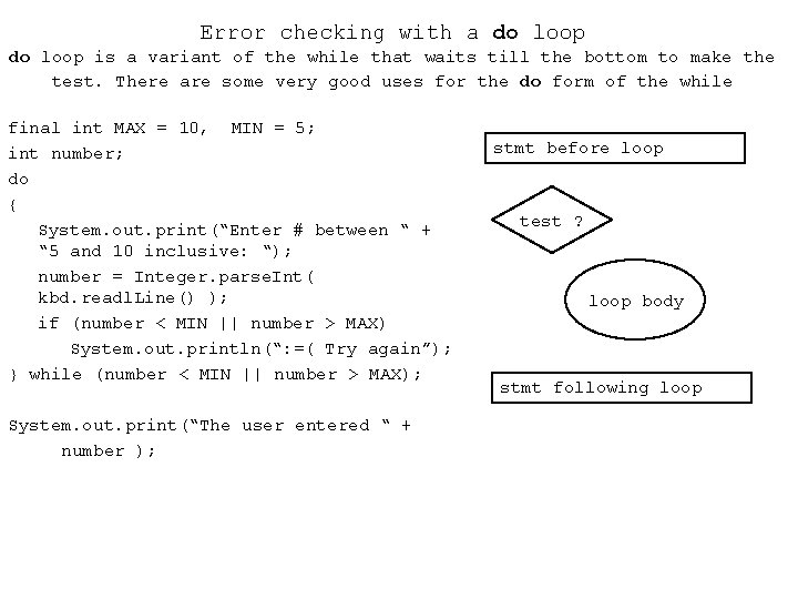 Error checking with a do loop is a variant of the while that waits