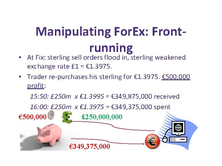 Manipulating For. Ex: Frontrunning • At Fix: sterling sell orders flood in, sterling weakened
