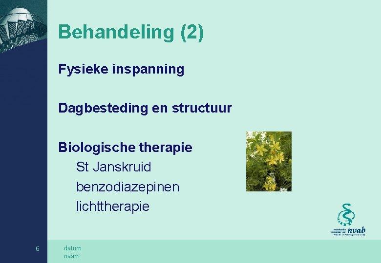 Behandeling (2) Fysieke inspanning Dagbesteding en structuur Biologische therapie St Janskruid benzodiazepinen lichttherapie 6