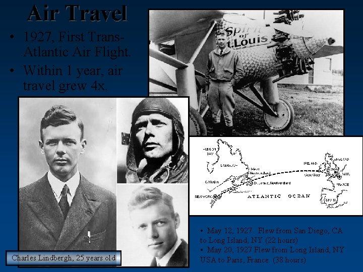 Air Travel • 1927, First Trans. Atlantic Air Flight. • Within 1 year, air