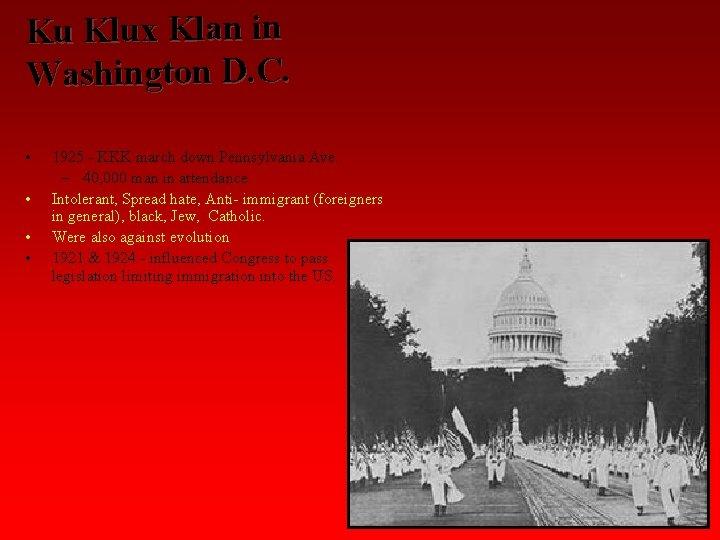 Ku Klux Klan in Washington D. C. • • 1925 - KKK march down