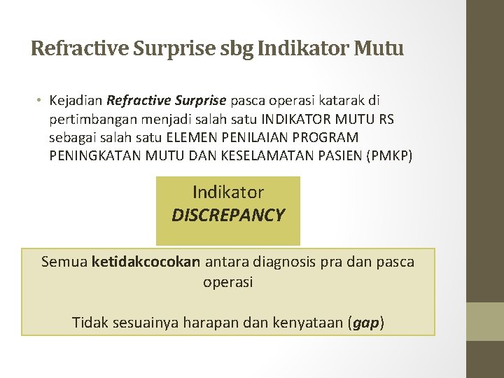Refractive Surprise sbg Indikator Mutu • Kejadian Refractive Surprise pasca operasi katarak di pertimbangan