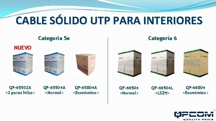 CABLE SÓLIDO UTP PARA INTERIORES Categoría 5 e Categoría 6 NUEVO QP-65502 A <2