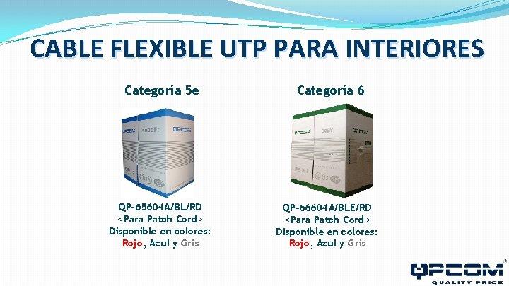 CABLE FLEXIBLE UTP PARA INTERIORES Categoría 5 e QP-65604 A/BL/RD <Para Patch Cord> Disponible