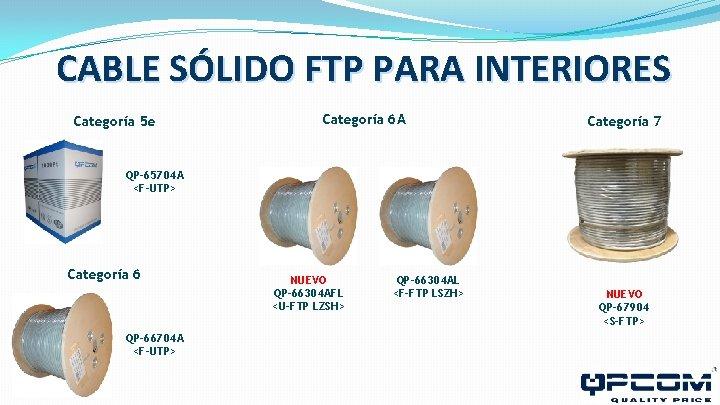 CABLE SÓLIDO FTP PARA INTERIORES Categoría 5 e Categoría 6 A Categoría 7 QP-65704