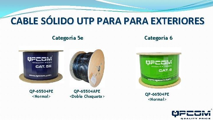CABLE SÓLIDO UTP PARA EXTERIORES Categoría 5 e QP-65504 PE <Normal> QP-65504 APE <Doble
