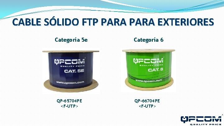 CABLE SÓLIDO FTP PARA EXTERIORES Categoría 5 e QP-65704 PE <F-UTP> Categoría 6 QP-66704