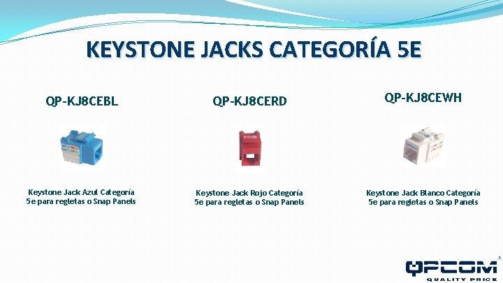 KEYSTONE JACKS CATEGORÍA 5 E QP-KJ 8 CEBL QP-KJ 8 CERD QP-KJ 8 CEWH