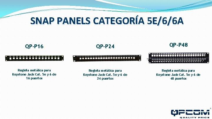 SNAP PANELS CATEGORÍA 5 E/6/6 A QP-P 16 QP-P 24 QP-P 48 Regleta metálica