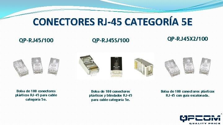 CONECTORES RJ-45 CATEGORÍA 5 E QP-RJ 45/100 QP-RJ 45 S/100 QP-RJ 45 X 2/100