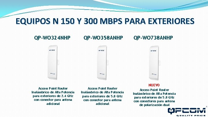 EQUIPOS N 150 Y 300 MBPS PARA EXTERIORES QP-WO 324 NHP QP-WO 358 ANHP