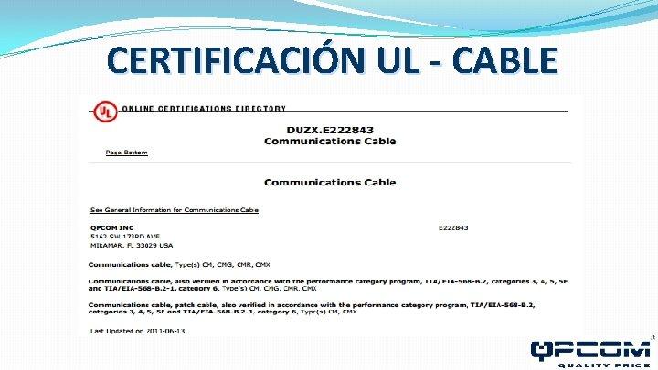 CERTIFICACIÓN UL - CABLE