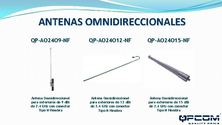ANTENAS OMNIDIRECCIONALES QP-AO 24 O 9 -NF QP-AO 24 O 12 -NF QP-AO 24