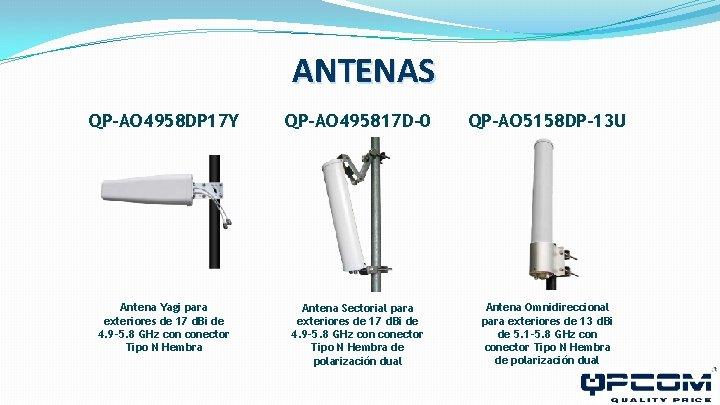 ANTENAS QP-AO 4958 DP 17 Y QP-AO 495817 D-0 QP-AO 5158 DP-13 U Antena