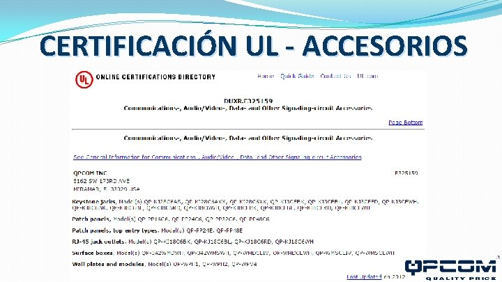 CERTIFICACIÓN UL - ACCESORIOS