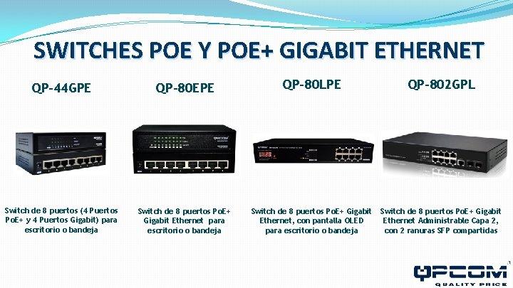 SWITCHES POE Y POE+ GIGABIT ETHERNET QP-44 GPE QP-80 EPE QP-80 LPE QP-802 GPL