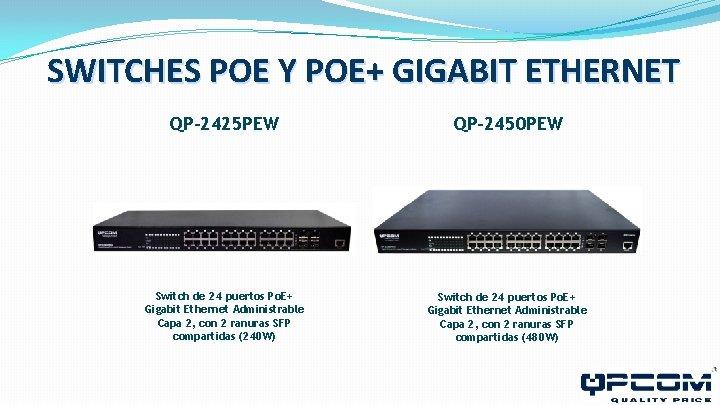 SWITCHES POE Y POE+ GIGABIT ETHERNET QP-2425 PEW QP-2450 PEW Switch de 24 puertos