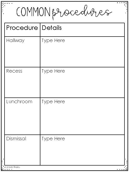Procedure Details Hallway Type Here Recess Type Here Lunchroom Type Here Dismissal Type Here