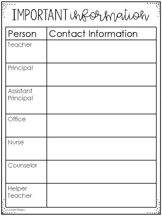 Person Teacher Principal Assistant Principal Office Nurse Counselor Helper Teacher Contact Information