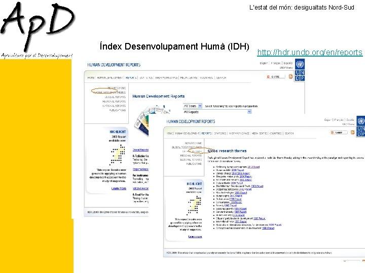 L'estat del món: desigualtats Nord-Sud Índex Desenvolupament Humà (IDH) http: //hdr. undp. org/en/reports