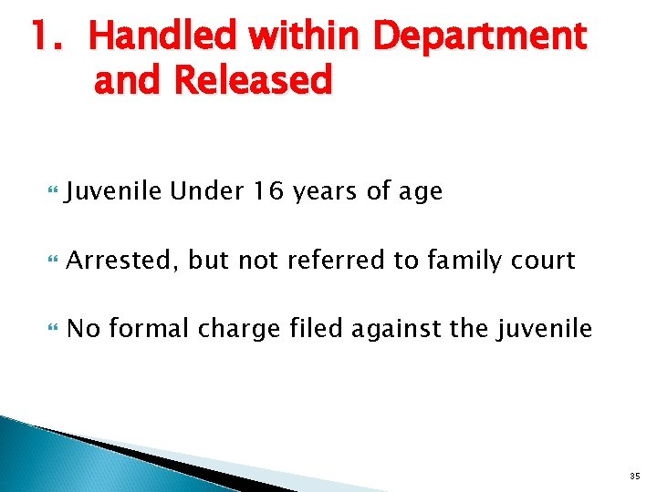 1. Handled within Department and Released Juvenile Under 16 years of age Arrested, but