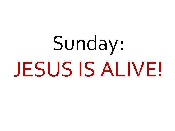 Sunday: JESUS IS ALIVE!