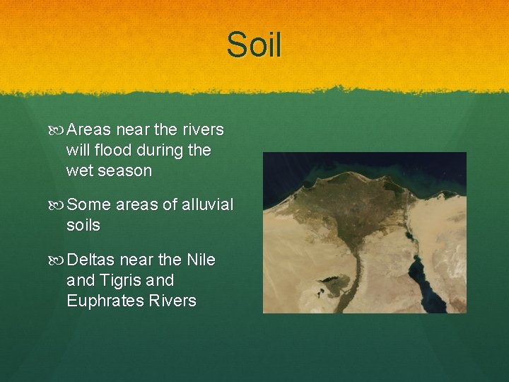 Soil Areas near the rivers will flood during the wet season Some areas of
