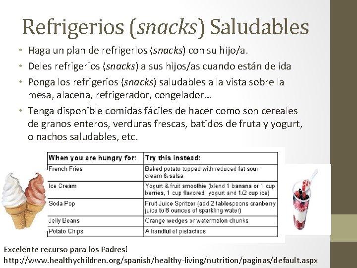 Refrigerios (snacks) Saludables • Haga un plan de refrigerios (snacks) con su hijo/a. •