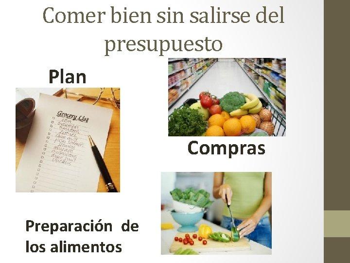 Comer bien sin salirse del presupuesto Plan Compras Preparación de los alimentos
