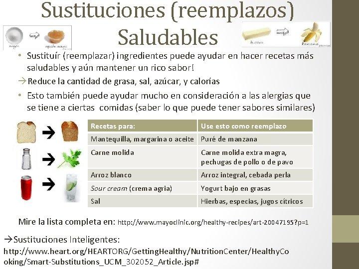Sustituciones (reemplazos) Saludables • Sustituír (reemplazar) ingredientes puede ayudar en hacer recetas más saludables