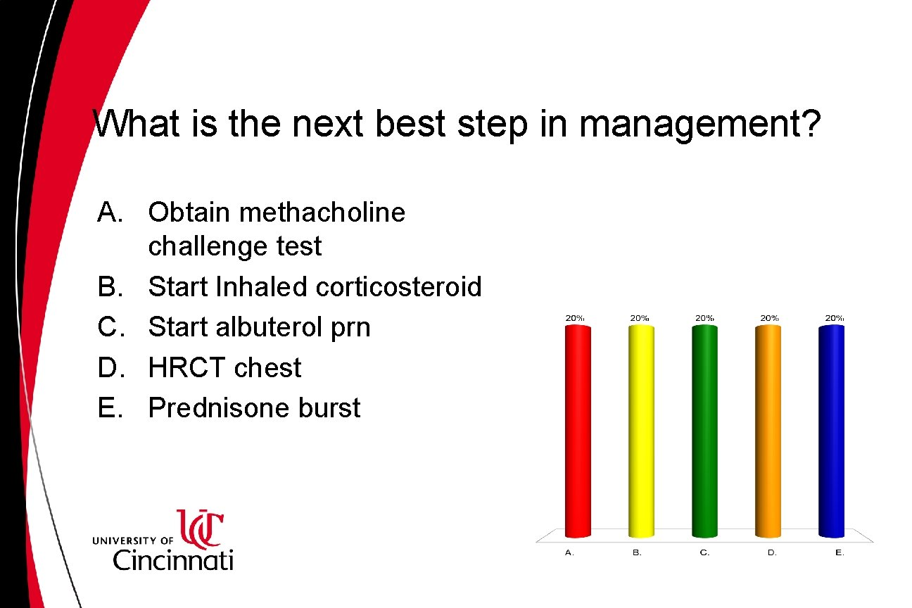 What is the next best step in management? A. Obtain methacholine challenge test B.