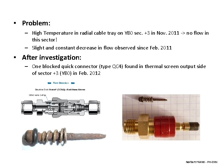 • Problem: – High Temperature in radial cable tray on YB 0 sec.