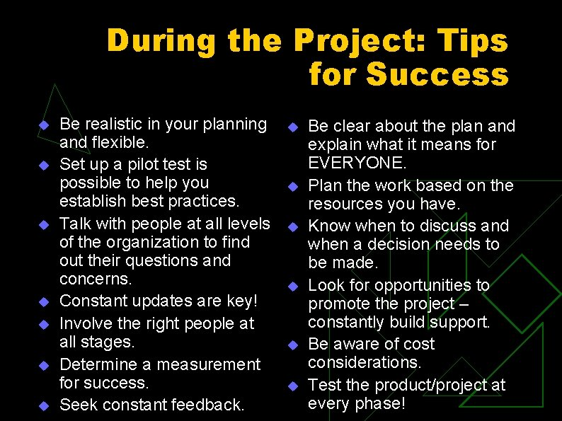 During the Project: Tips for Success u u u u Be realistic in your
