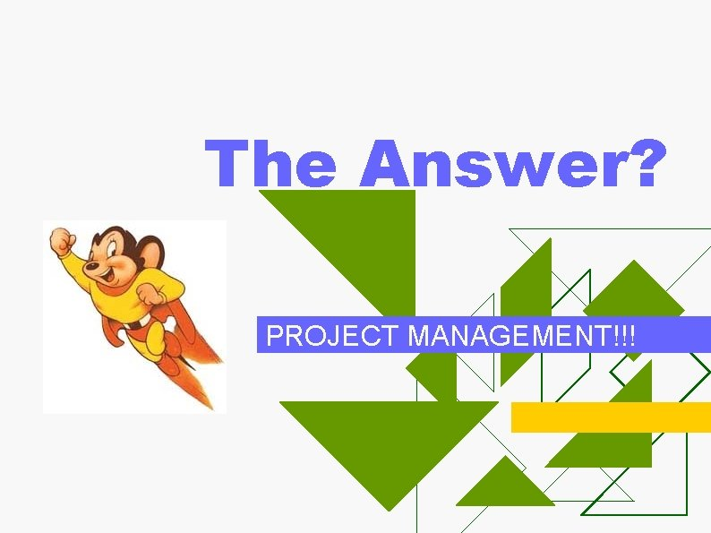 The Answer? PROJECT MANAGEMENT!!!
