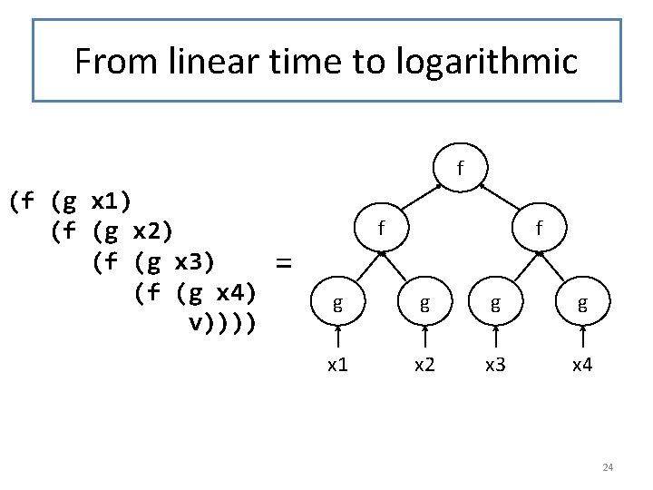 From linear time to logarithmic f (f (g x 1) (f (g x 2)