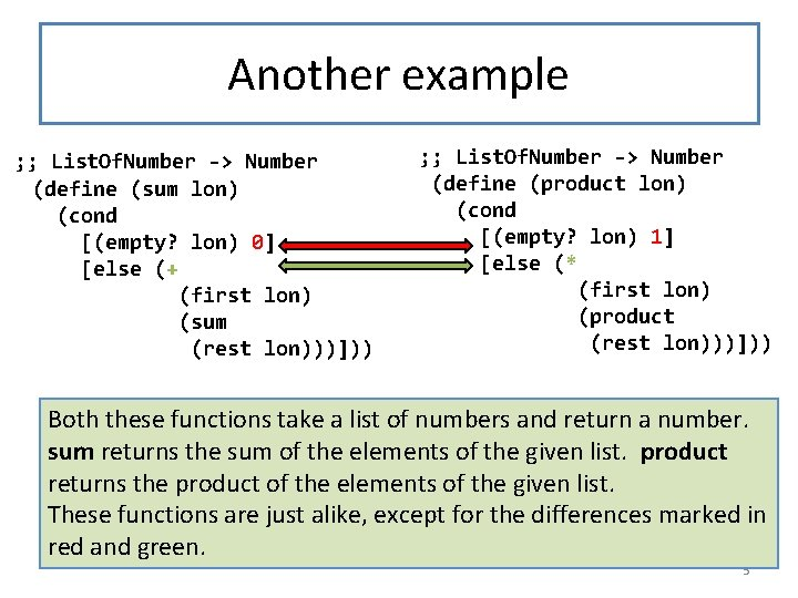 Another example ; ; List. Of. Number -> Number (define (sum lon) (cond [(empty?