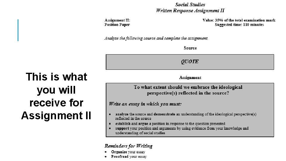 This is what you will receive for Assignment II