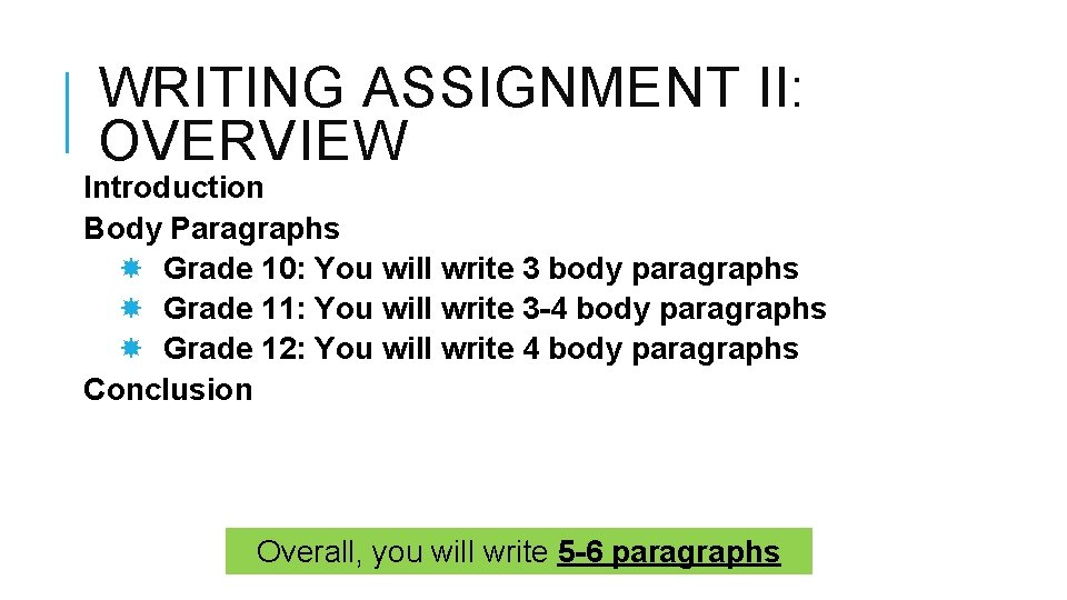WRITING ASSIGNMENT II: OVERVIEW Introduction Body Paragraphs Grade 10: You will write 3 body
