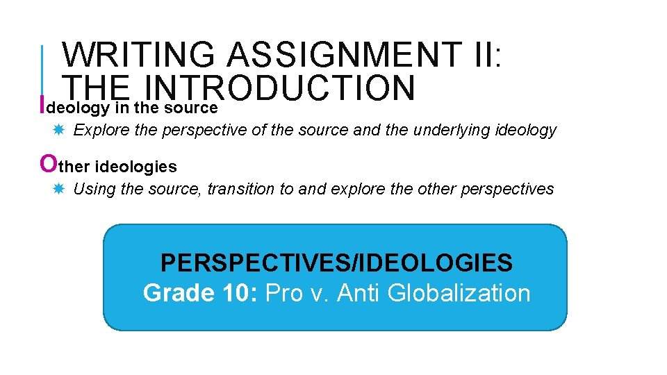 WRITING ASSIGNMENT II: THE INTRODUCTION Ideology in the source Explore the perspective of the