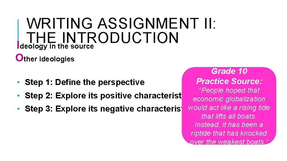 WRITING ASSIGNMENT II: THE INTRODUCTION Ideology in the source Other ideologies • Step 1: