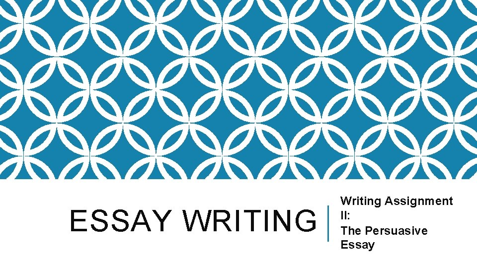 ESSAY WRITING Writing Assignment II: The Persuasive Essay