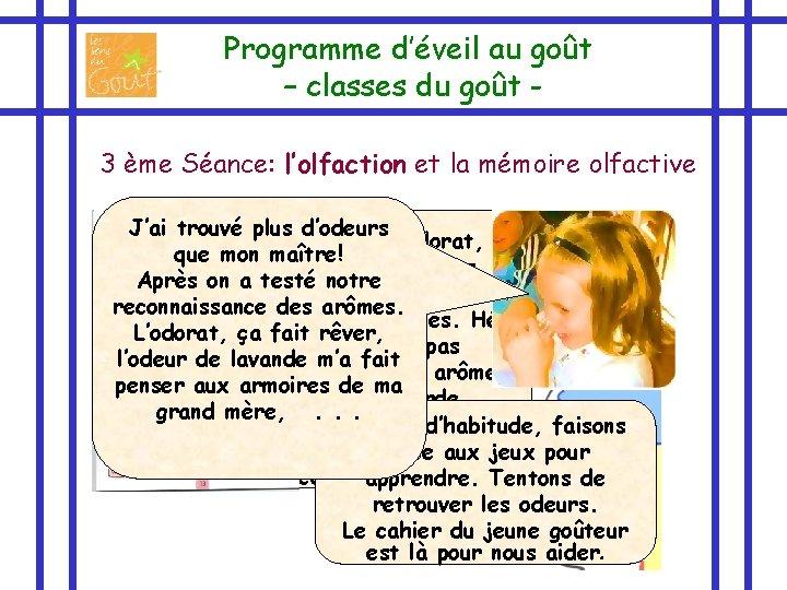 Programme d'éveil au goût – classes du goût 3 ème Séance: l'olfaction et la