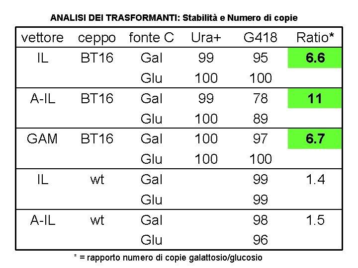 ANALISI DEI TRASFORMANTI: Stabilità e Numero di copie vettore IL A-IL GAM IL A-IL